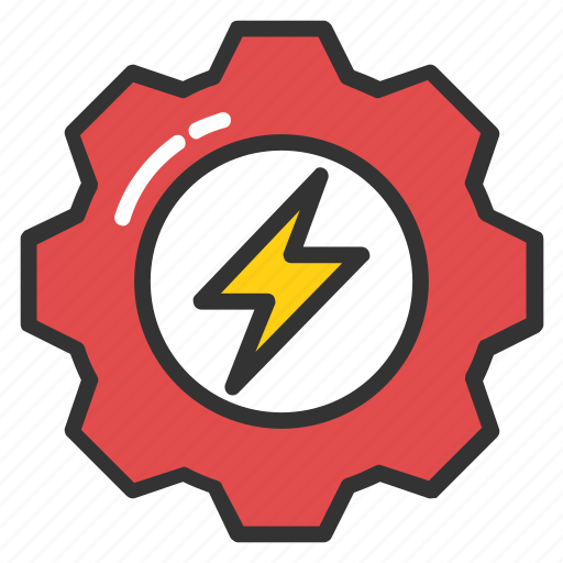 cog wheel with flash, electric energy gear, electric power gear, electrician service, volt lighting icon