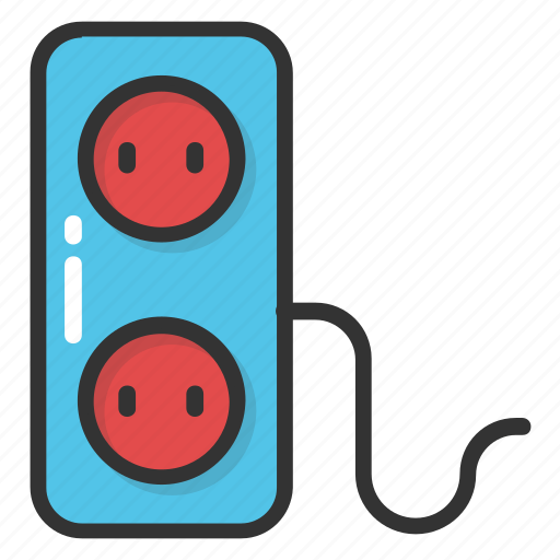 extension cord, extension lead, power plug, power supply, socket extension icon