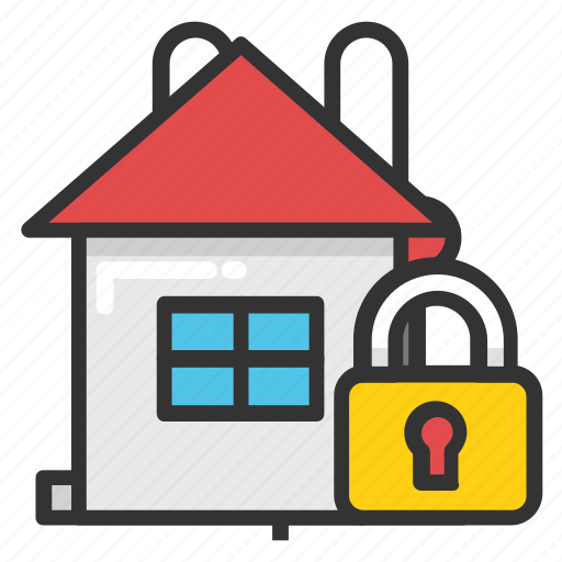 home protection, locked home, padlock, protection, security icon