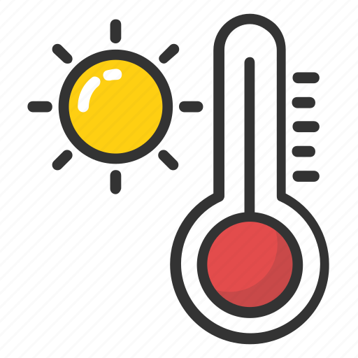 hot weather, temperature, thermometer, weather temperature, weather thermometer icon