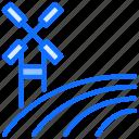 path, road, highway, farm, windmill