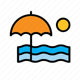 beach, nature, parasol, sera, summer, umbrella, water icon