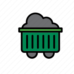 cart, coal, mine, natural, nature, wagon, world icon