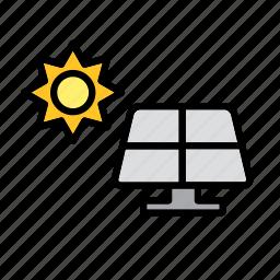 energy, nature, panel, power, renewable, solar, sun icon