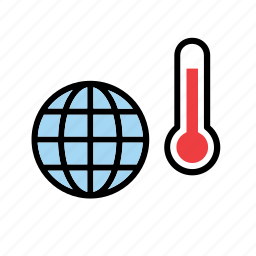 earth, global warming, globe, nature, temperature, thermometer, world icon