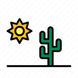 cactus, desert, natural, nature, sun, world icon