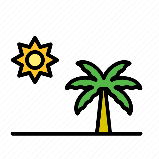 landscape, natural, nature, palm tree, sun, tree, world icon