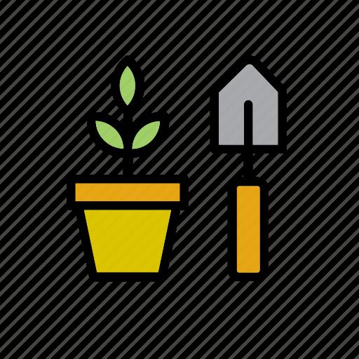 flowerpot, garden, gardening, nature, plant, shovel, tool icon