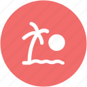 dawn, morning, palm, palm tree, rising, sunrise icon