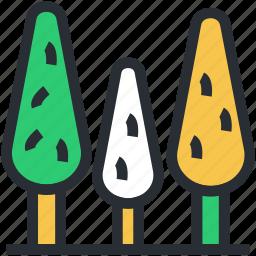 ecology, greenery, nature, three trees, trees icon