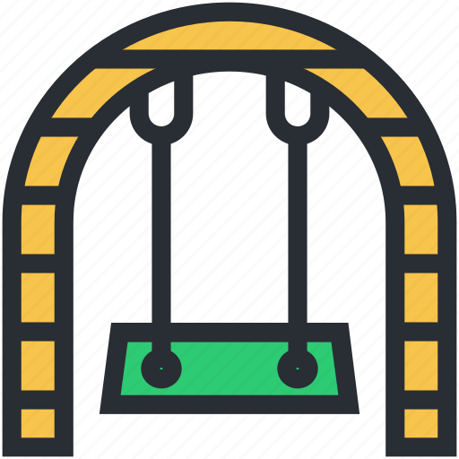 amusement park, outdoor play, park, playground, swing icon