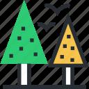 park, sky, birds, trees, garden icon