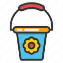 bucket, flower bucket, pail, paint bucket, water bucket icon