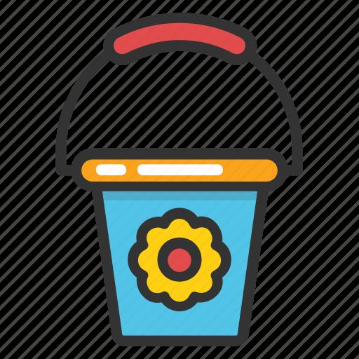 bucket, flower bucket, pail, paint bucket, water bucket icon
