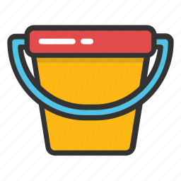 bucket, garden bucket, pail, paint bucket, water bucket icon