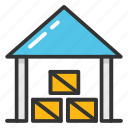 godown, industrial storage, storage, storage unit, warehouse icon