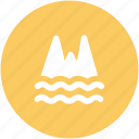 ecology, nature, ocean, ocean mountain, sea icon