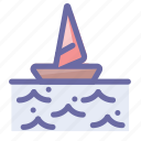 boat, ocean, sea, summer, vacation, wave, wind icon