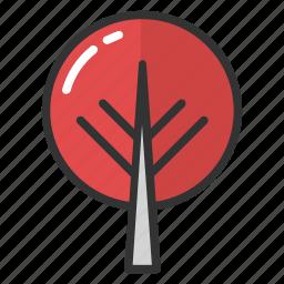 circular tree, decorative tree, round shaped tree, topiary tree, tree icon