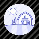 agriculture, barn, countryside, farm, field, nature, ranch, sun, sunlight, sunny, tree