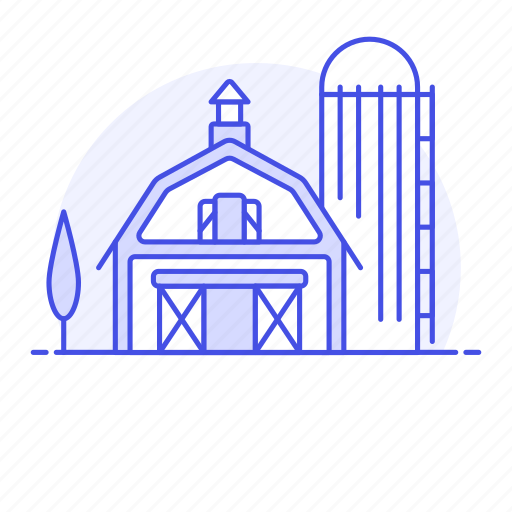agriculture, barn, countryside, farm, field, nature, ranch, silo, tree icon