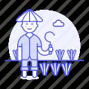 agriculture, asian, crop, faemer, farm, farmer, full, man, nature, plant, rice, scythe, sickle, water
