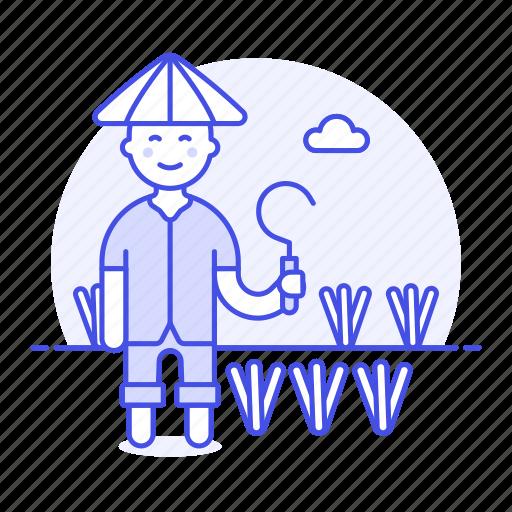 1, agriculture, asian, crop, faemer, farm, farmer, full, man, nature, plant, rice, scythe, sickle, water icon