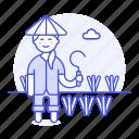 sickle, water, nature, plant, full, asian, farm, woman, farmer, scythe, agriculture, rice, crop
