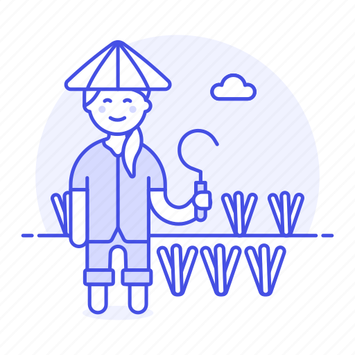2, agriculture, asian, crop, farm, farmer, full, nature, plant, rice, scythe, sickle, water, woman icon