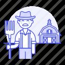 agriculture, barn, countryside, farm, farmer, field, fork, half, male, nature, ranch, tool