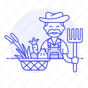 agriculture, basquet, farm, farmer, field, fork, harvest, male, nature, ranch, vegetables