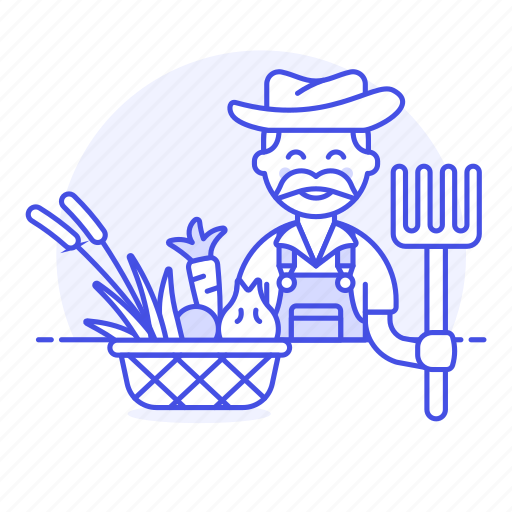 1, agriculture, basquet, farm, farmer, field, fork, harvest, male, nature, ranch, vegetables icon