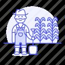 agriculture, crop, culture, farm, farmer, field, male, nature, plant, plantation, shovel