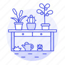 can, flowers, garden, gardening, nature, outdoors, plants, succulents, table, water, watering