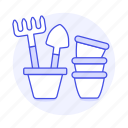 equipment, garden, gardening, nature, plant, pots, rake, shovel, tools icon