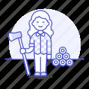 nature, tools, female, tree, harvesting, lumber, axe, lumberjack, equipment, gardening