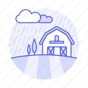 raining, rainy, barn, tree, countryside, stormy, field, ranch, agriculture, nature, day, farm