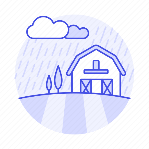 agriculture, barn, countryside, day, farm, field, nature, raining, rainy, ranch, stormy, tree icon