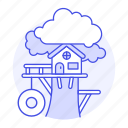 building, wheel, nature, tree, treeshed, house, platform, fort, trunk