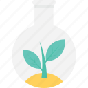 botany, flask, laboratory, leaf, research icon