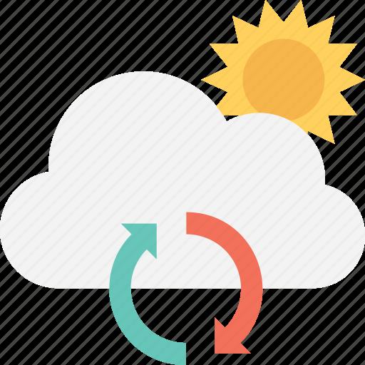cloud, energy, refresh, renewable, sun icon