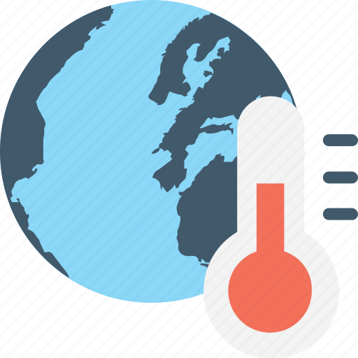 global warming, globe, planet, pollution, thermometer icon
