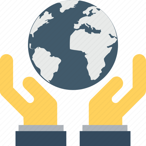 earth, globe, hands, save earth, save planet icon