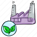 eco factory, eco plant, ecology, factory unit, green industry icon