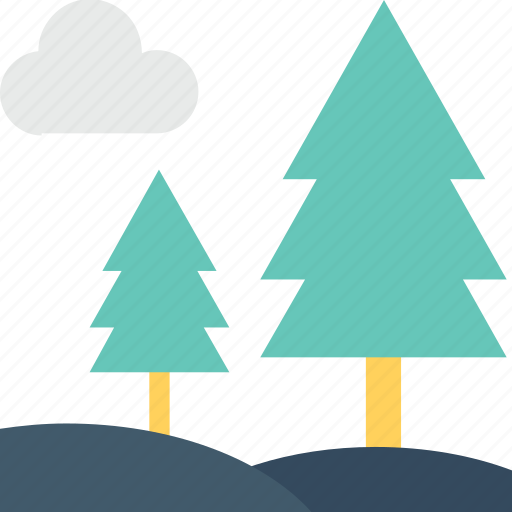 fir trees, forest, park, pine trees, trees icon