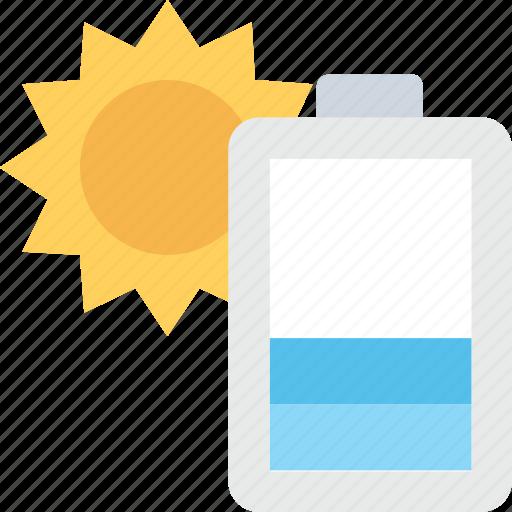 battery, charging, solar cell, solar energy, sun icon