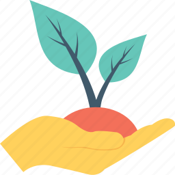 agriculture, ecology, hand, plant, planting icon