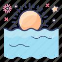declining sun, evening time, ocean sunset, sea sunset, sundown, sunrise, sunset