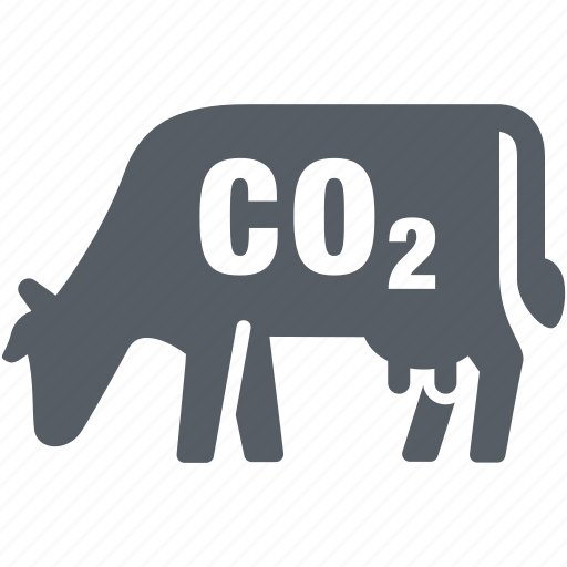 climate, co2, cow, emission, environment, pollution icon