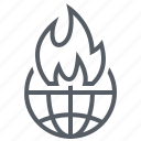 disaster, environment, fire, pollution, world icon